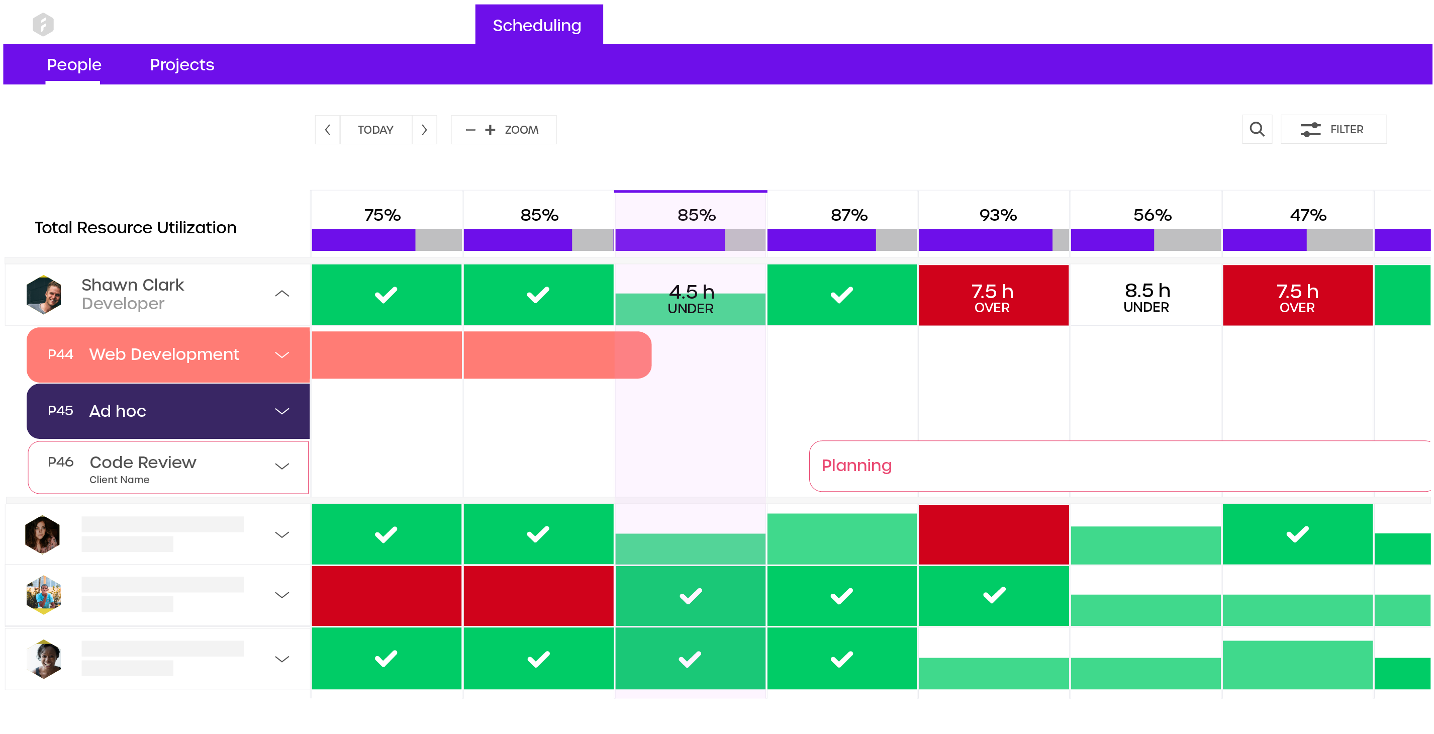 Plan your team's capacity based on their skills and time. Monitor the level of utilization and edit it by easily dragging and dropping projects and tasks to the team members.