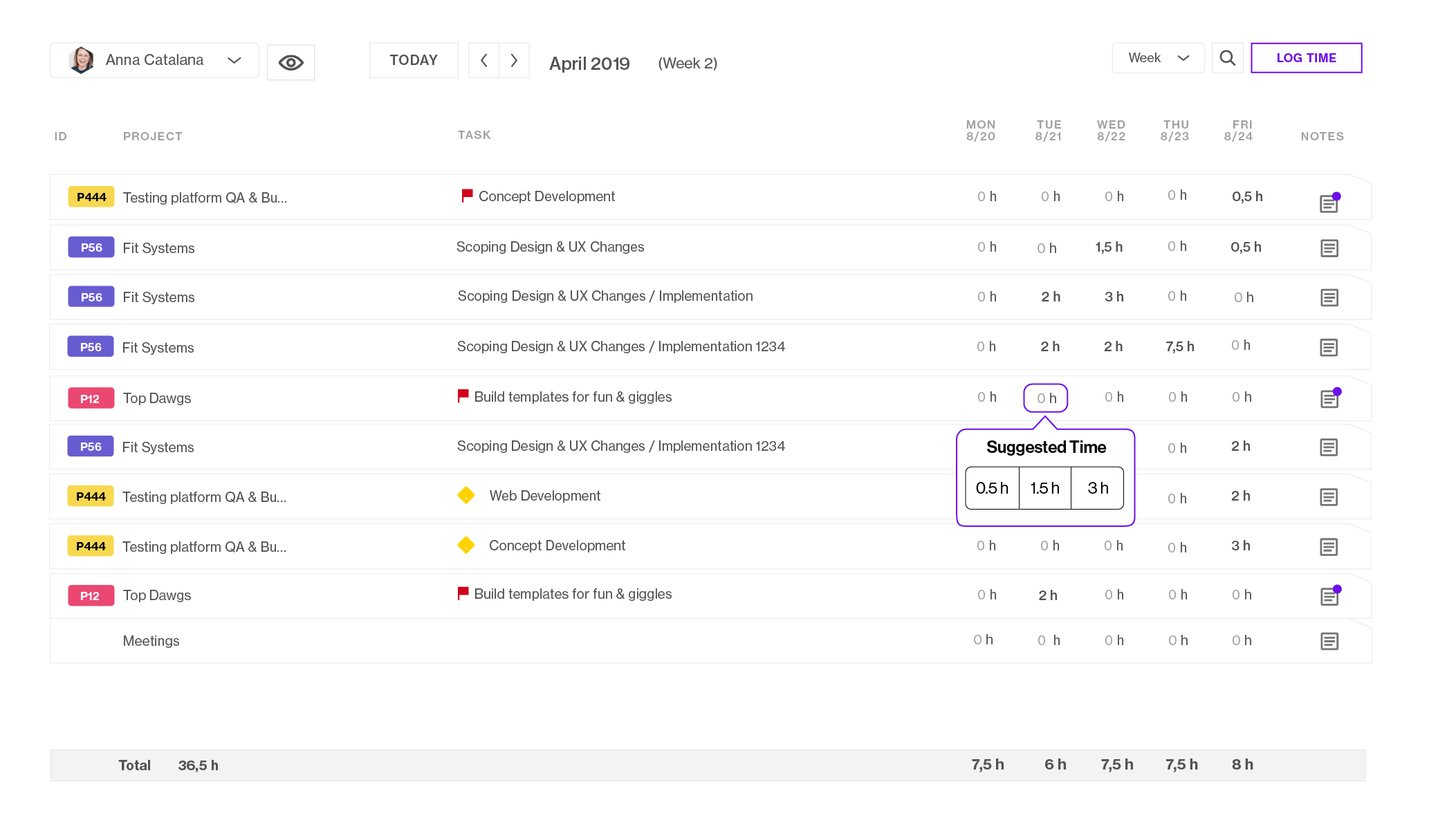Register time with ease. Based on the tasks you've been working on and are assigned to, the AI-based suggestions help you register time with ease.