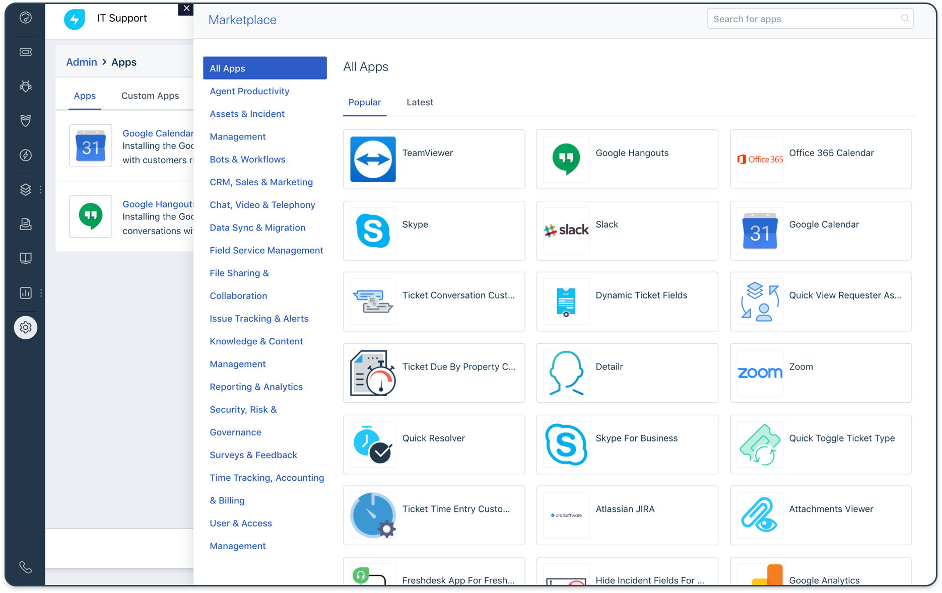 Meet your expanding customer needs with the open and flexible Freshworks Platform providing rich API for custom integrations and an apps marketplace.