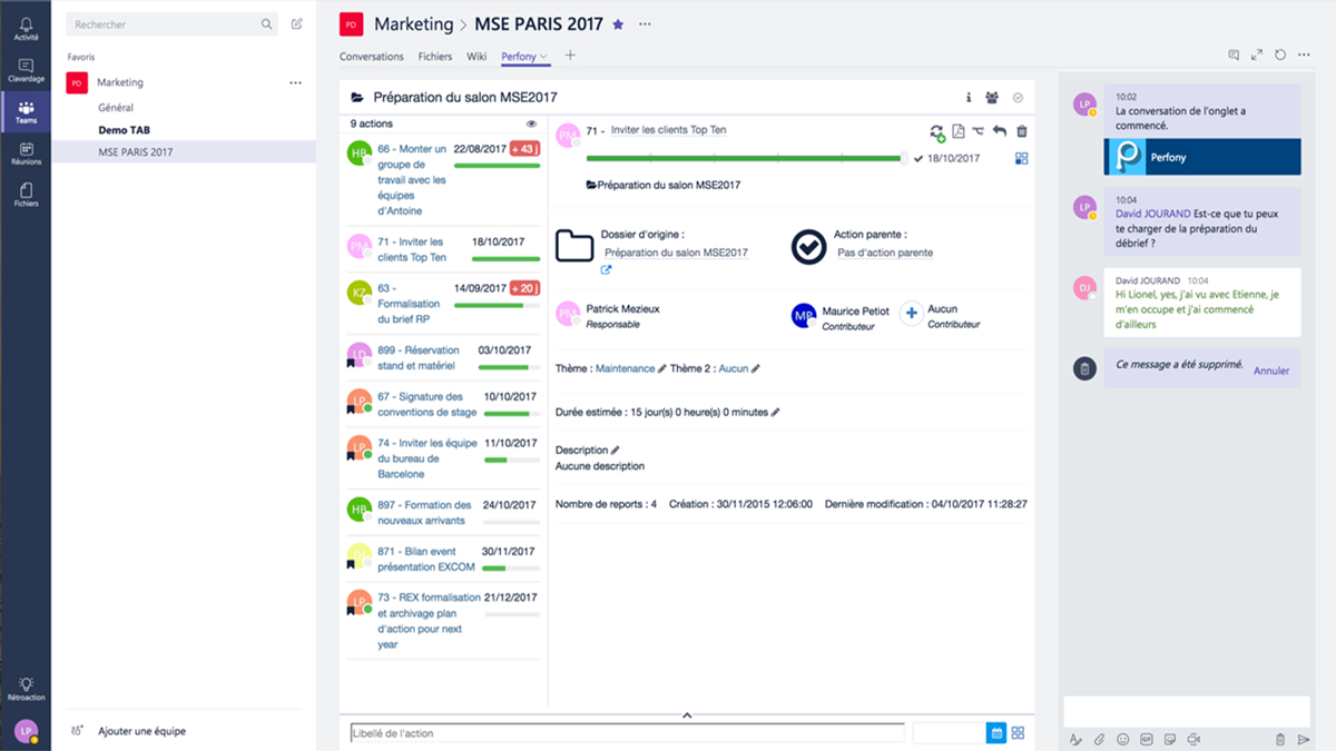 "Add tabs in Perfony Teams. Perfony is Microsoft Partner. ""Add project tracking in your collaborative tool."""