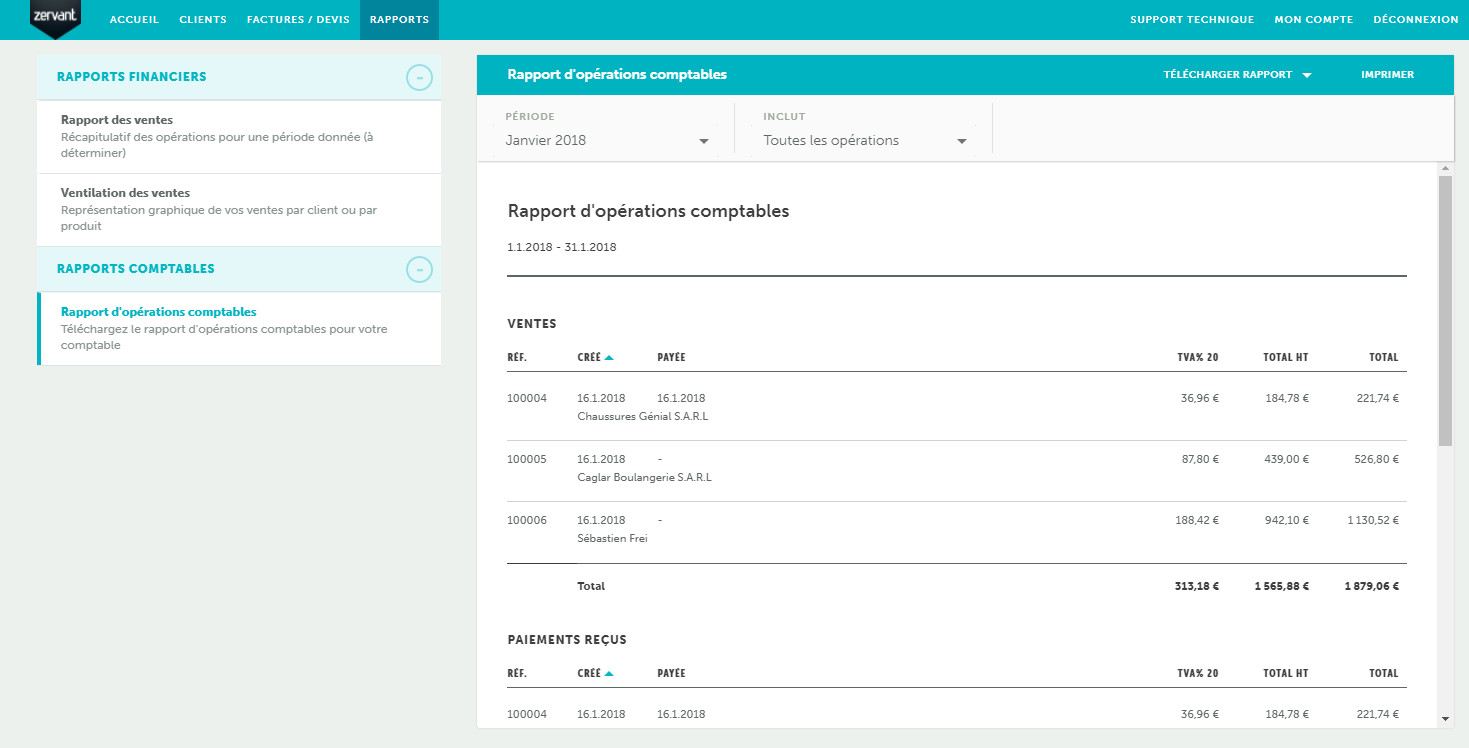Zervant: Sending invoices by email, income statement