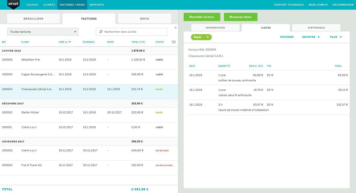 Zervant: Monitoring of payments / settlements, monitoring of payments / settlements, invoice quote Conversion