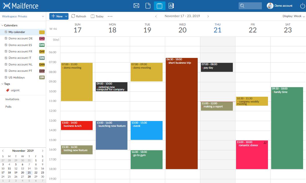 Screenshot of the Mailfence Calendar component