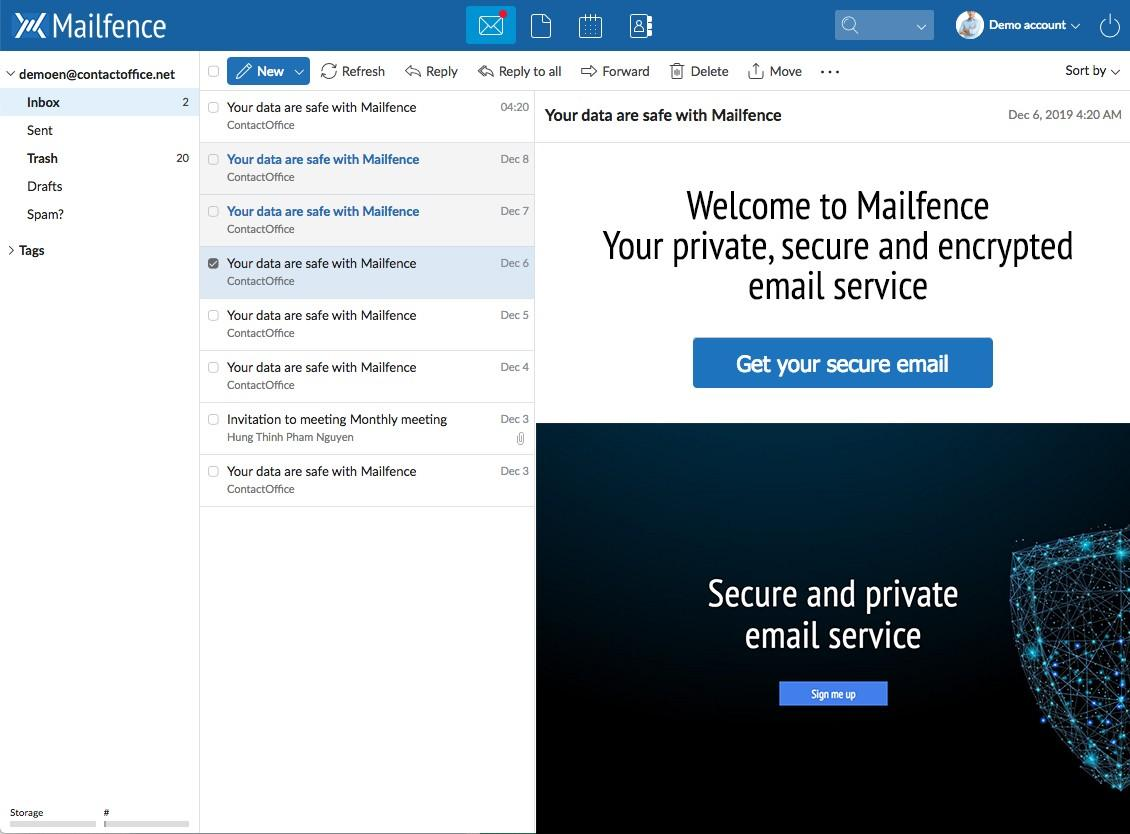 Screenshot of the Mailfence Email component