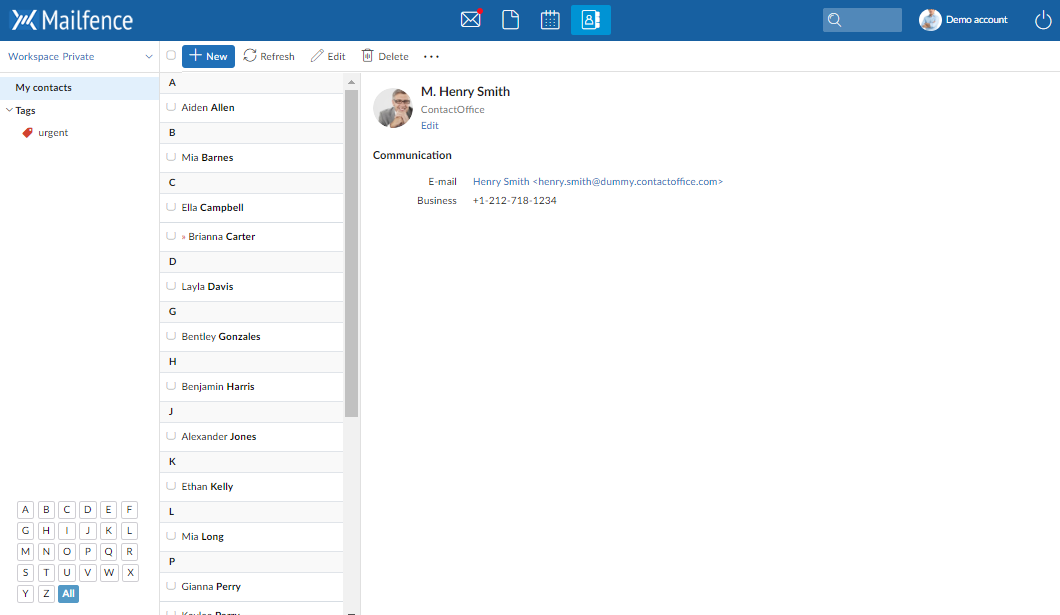 Screenshot of the Mailfence Contacts component