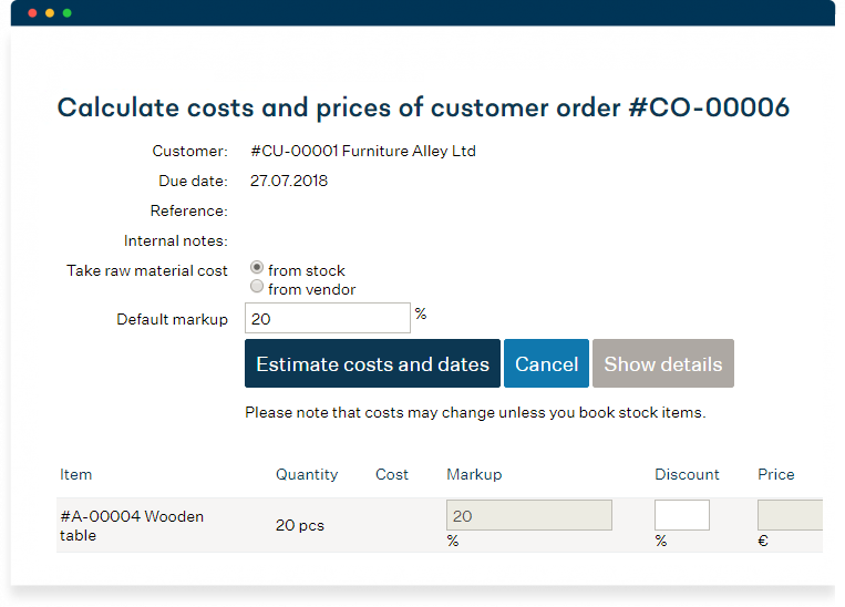 Cost and lead time estimation