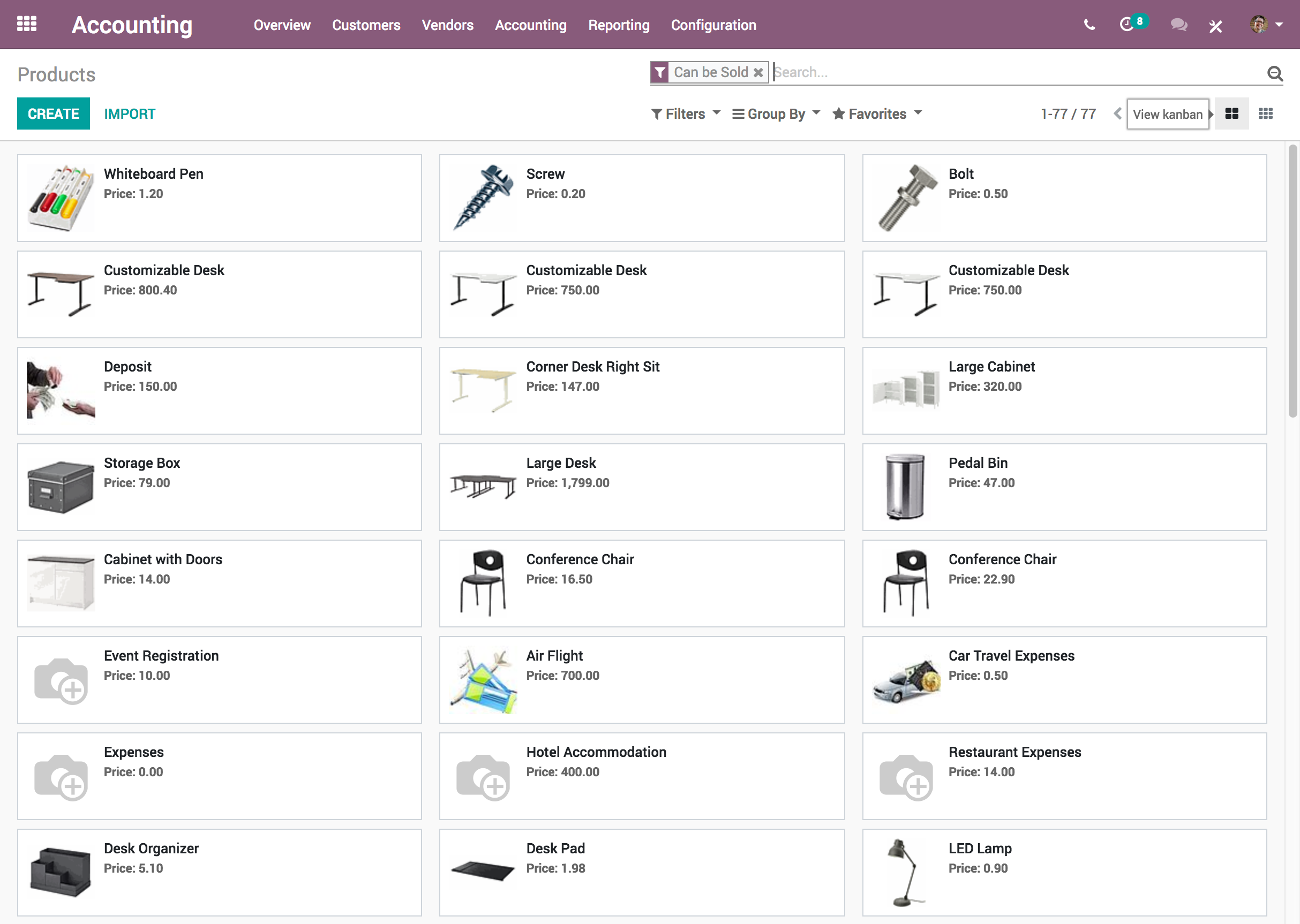 Odoo Accounting - Products