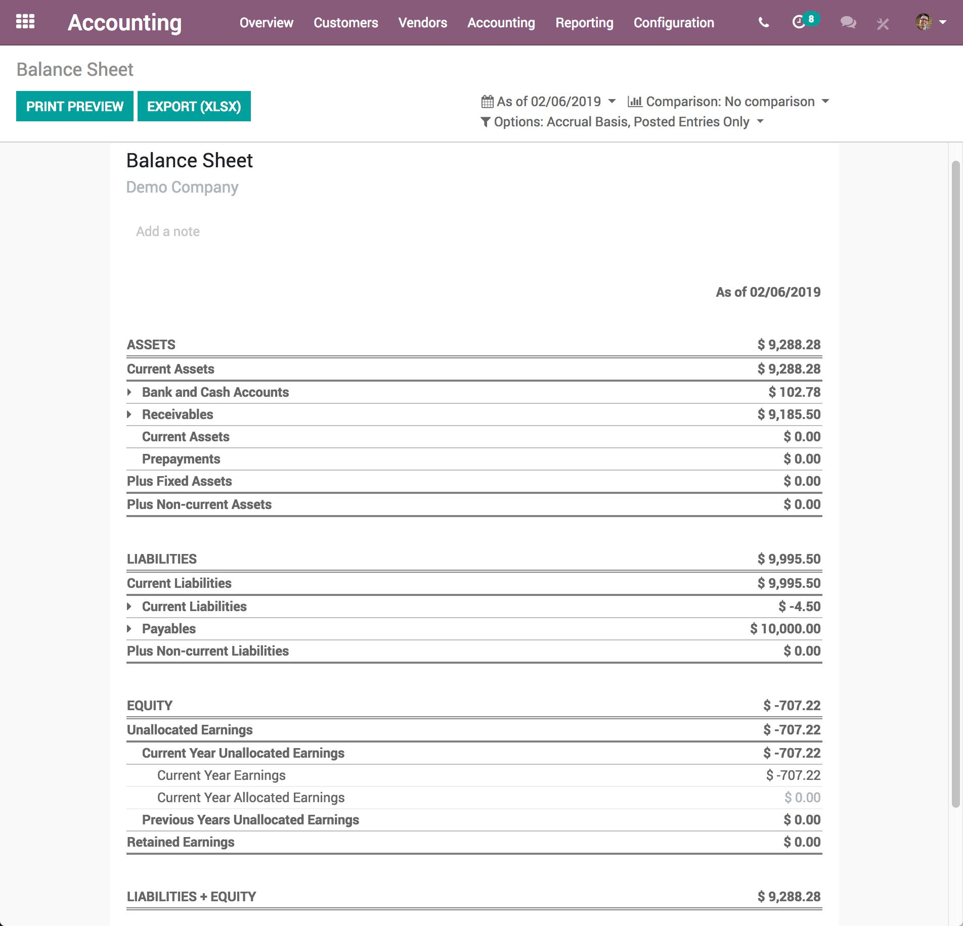Odoo Accounting - Balance Sheet