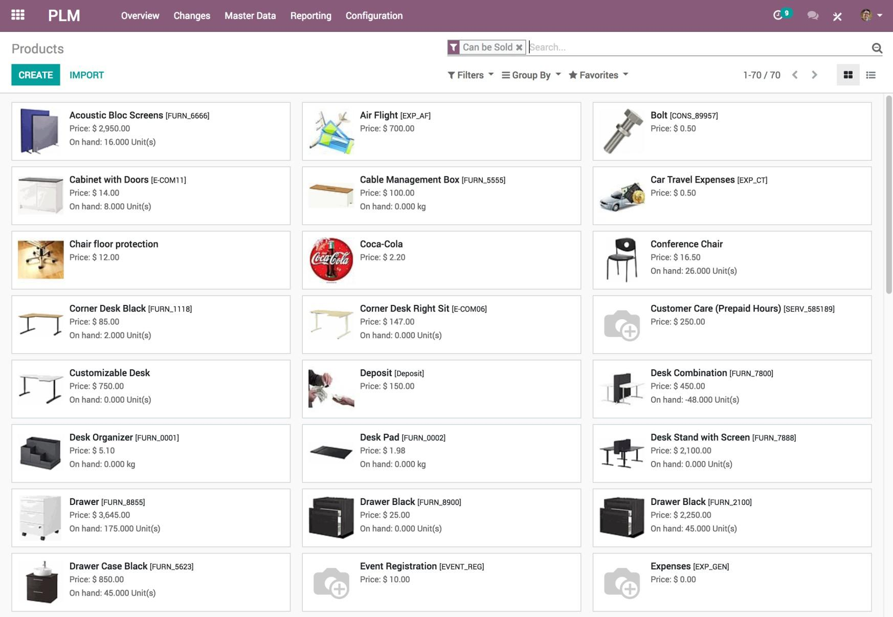 Odoo PLM - Products