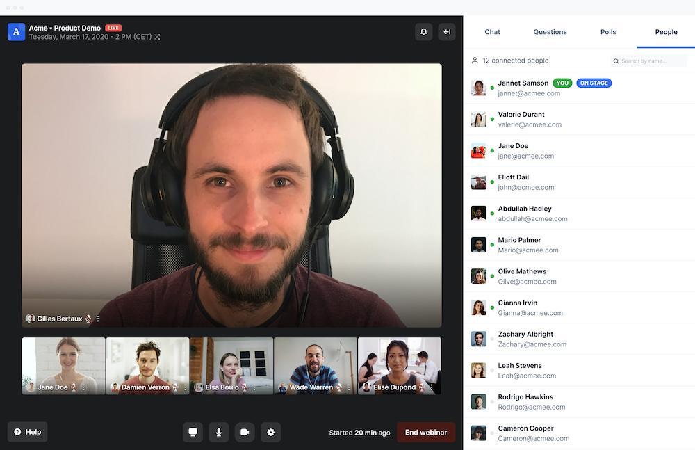 Browser based webinars and meetings