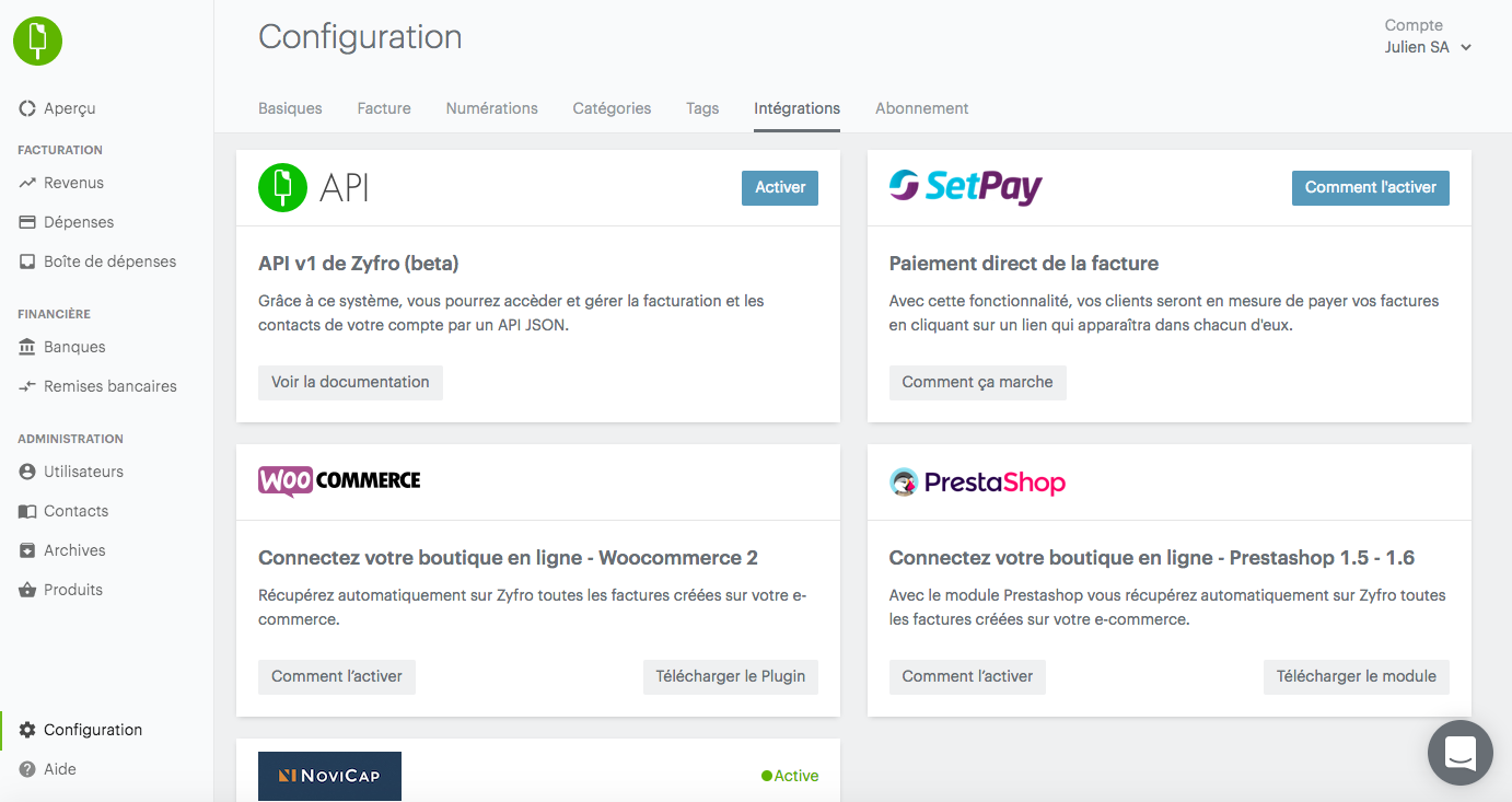 Integrations on Zyfro (e-commerce, payment, financing ...)