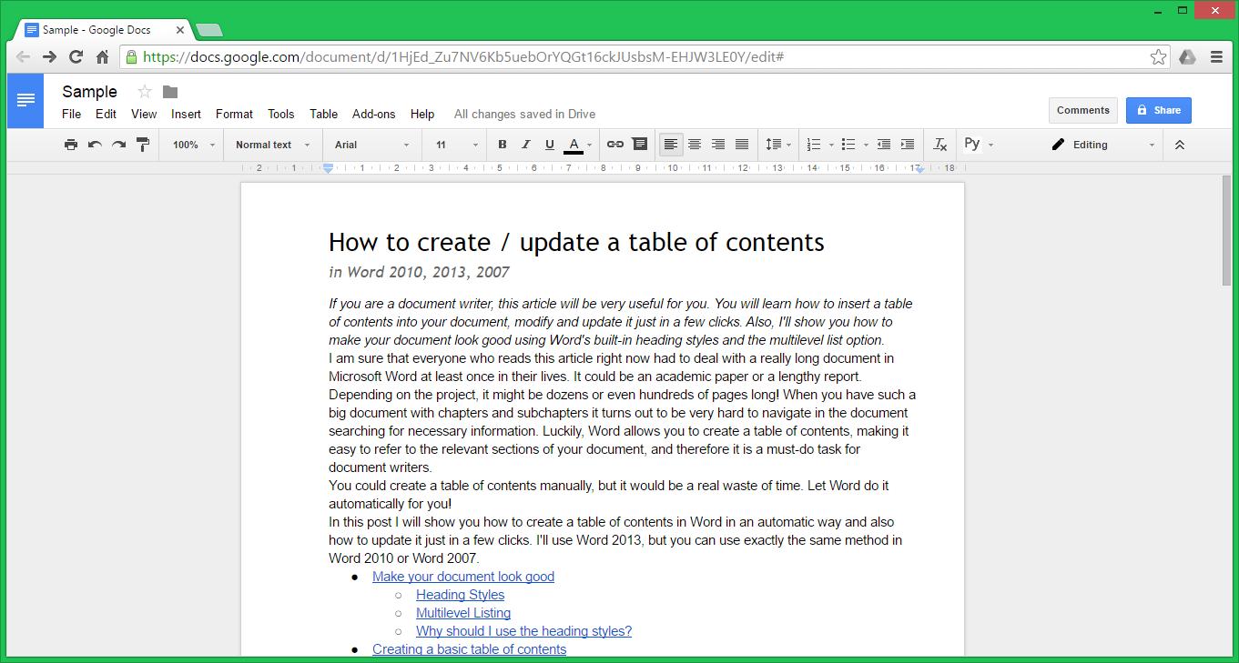 Interface of Google Docs