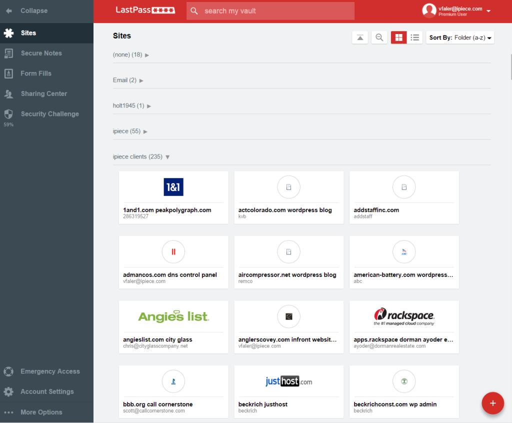 Interface LastPass 1