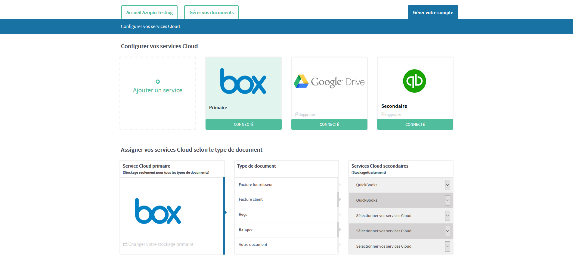 The user can configure their cloud storage services (such as Dropbox, Google Drive, Box and onedrive) and its online accounting software (QuickBooks and Xero)