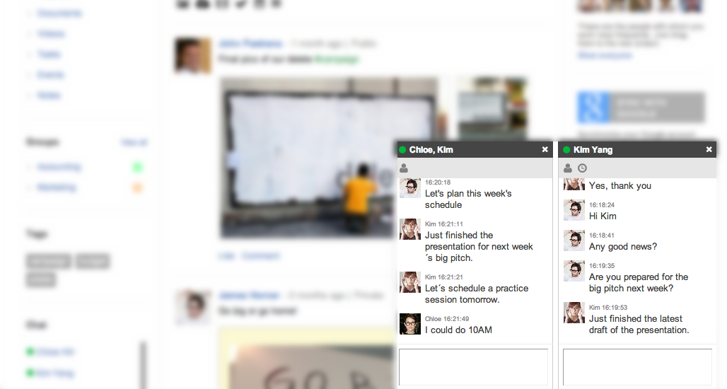 Chat with your colleagues anytime!