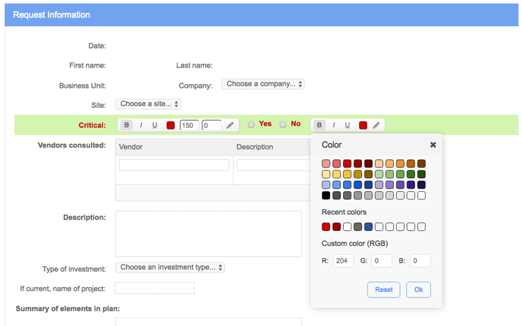 No-code form designer