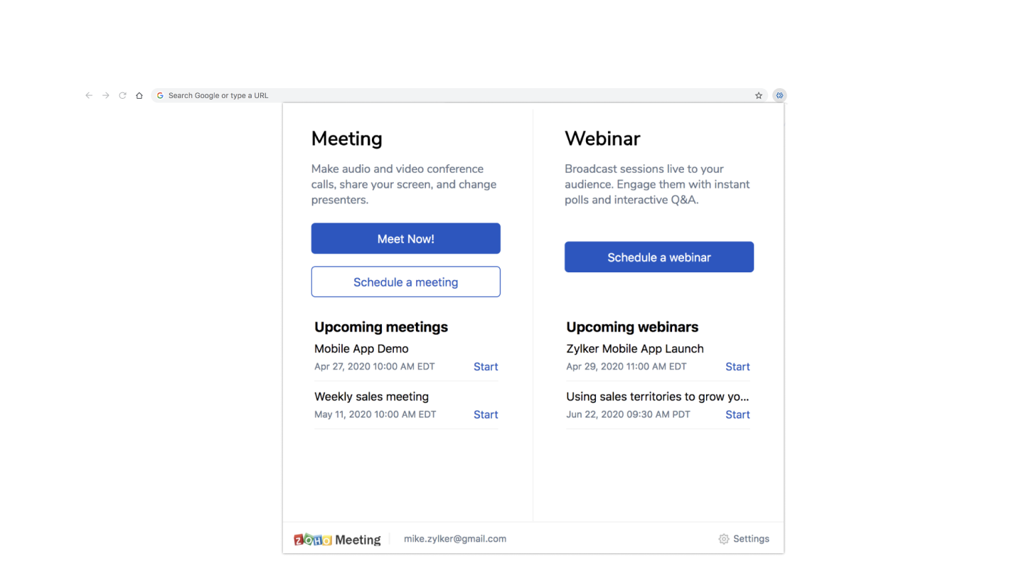 Zoho Meeting-Extension