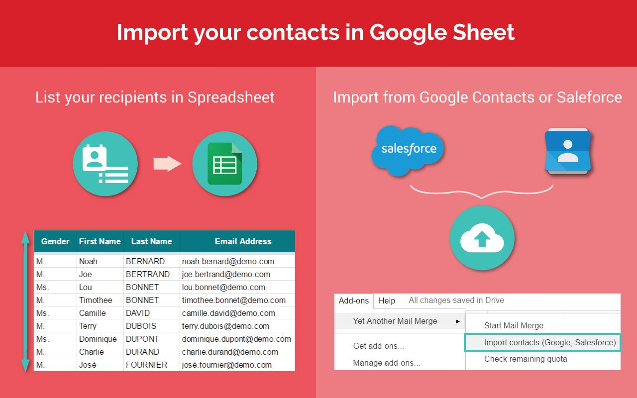 Prepare your mail merge mailing list! Import contacts from Google Contacts or Salesforce CRM