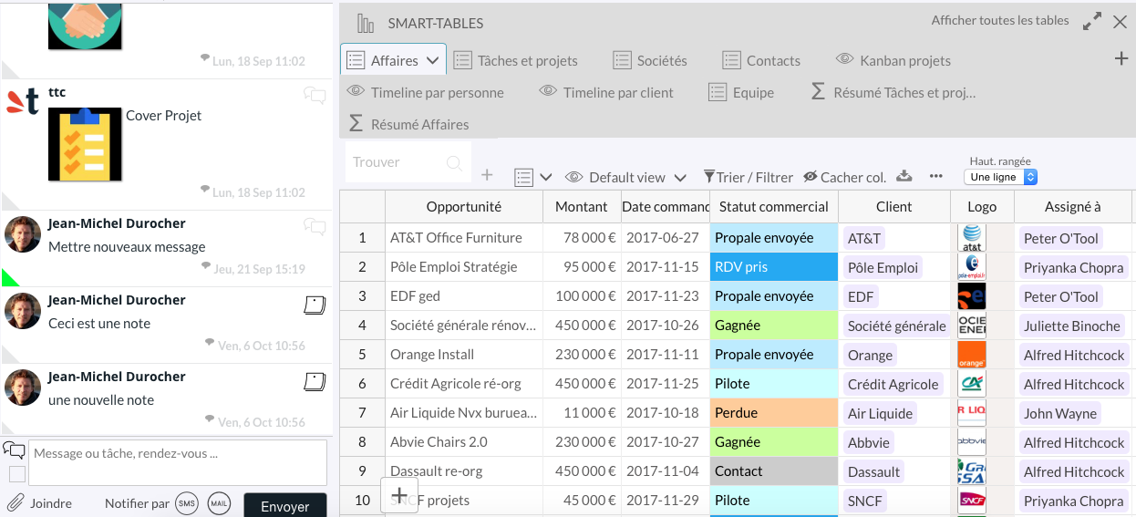 Table view: Collaboration space (sms, email, push notification) on the left side and right side of the database