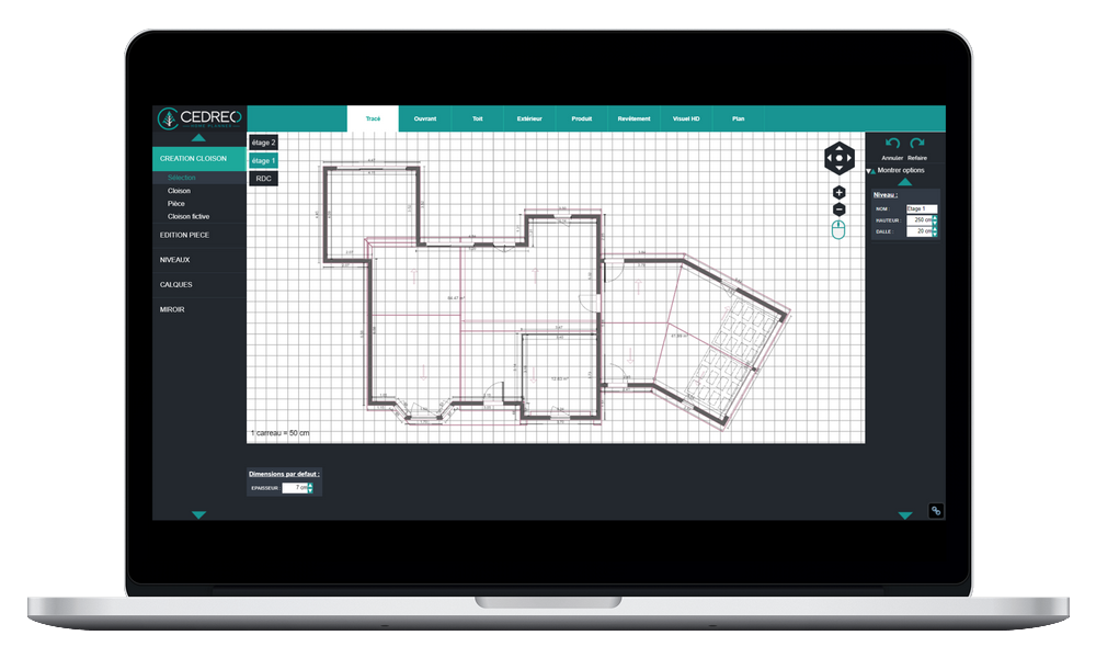 Draw your 2D floor plan with our support tools for layout