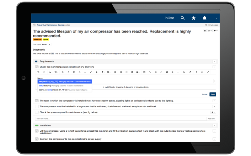 Accelerate editing maintenance records of your teams by automatically incorporating real-time data.