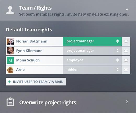 Rights management inside teams