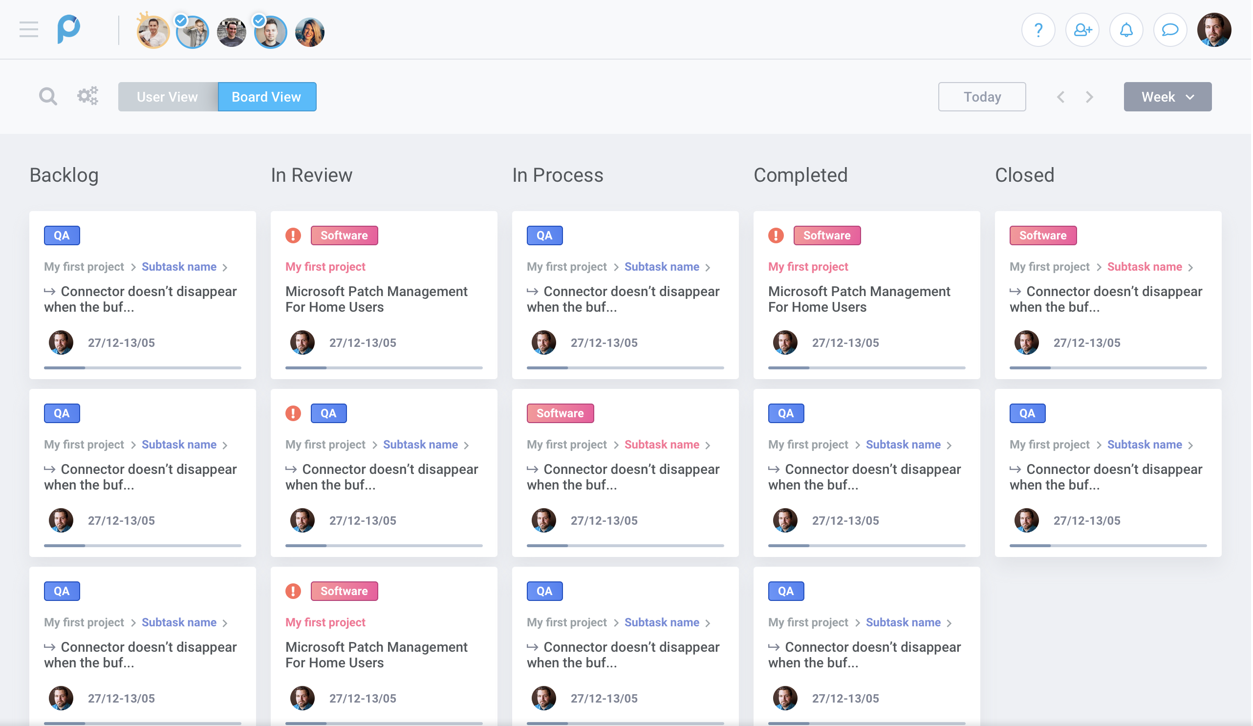 Kanban view for task management