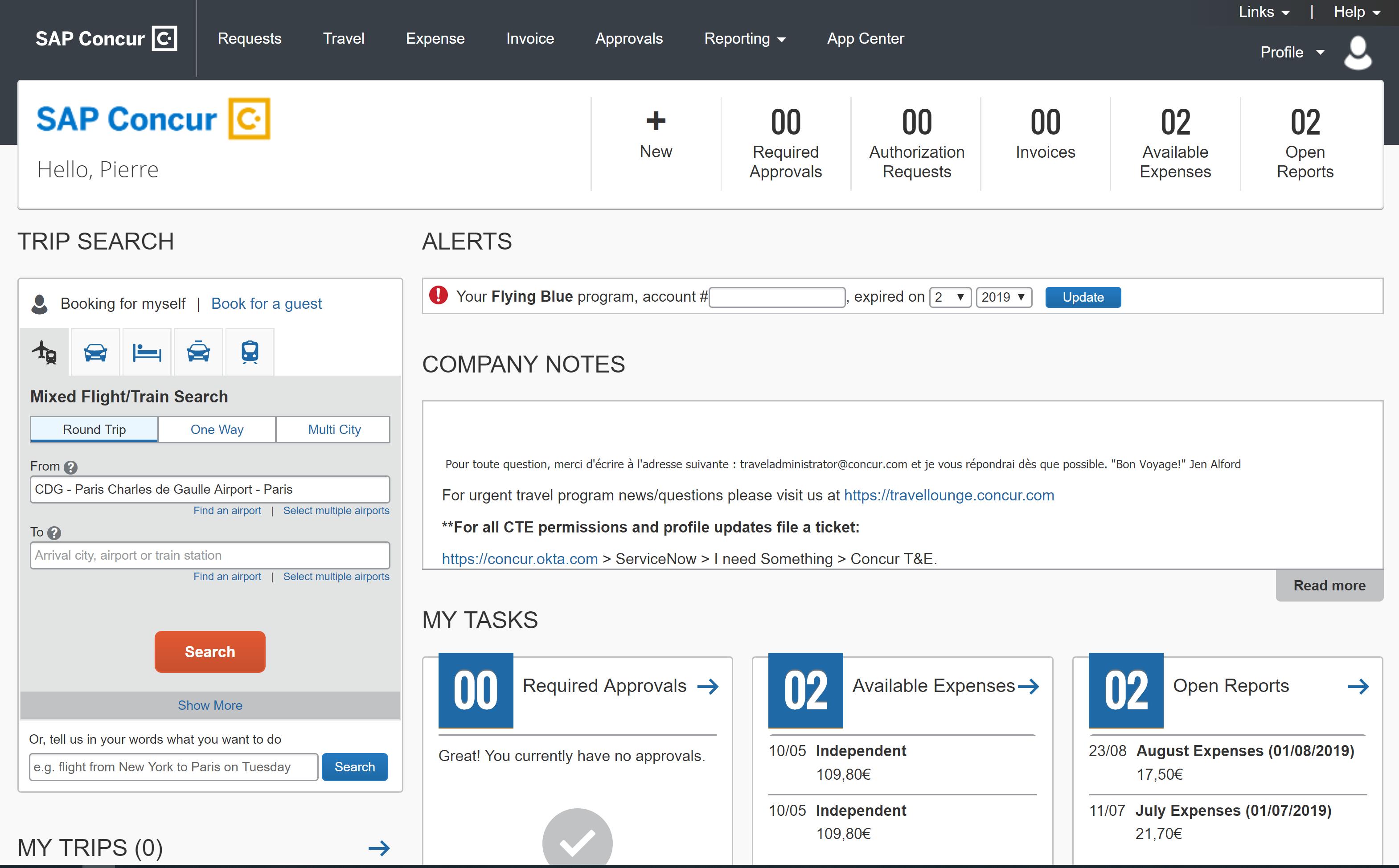 SAP Concur-screenshot capture desktop