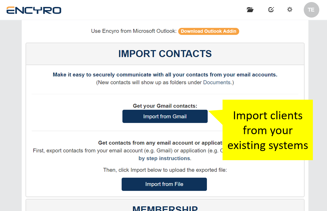 All your existing contacts can be imported into Encyro. As you start typing a client name or address, the relevant contact is automatically suggested.