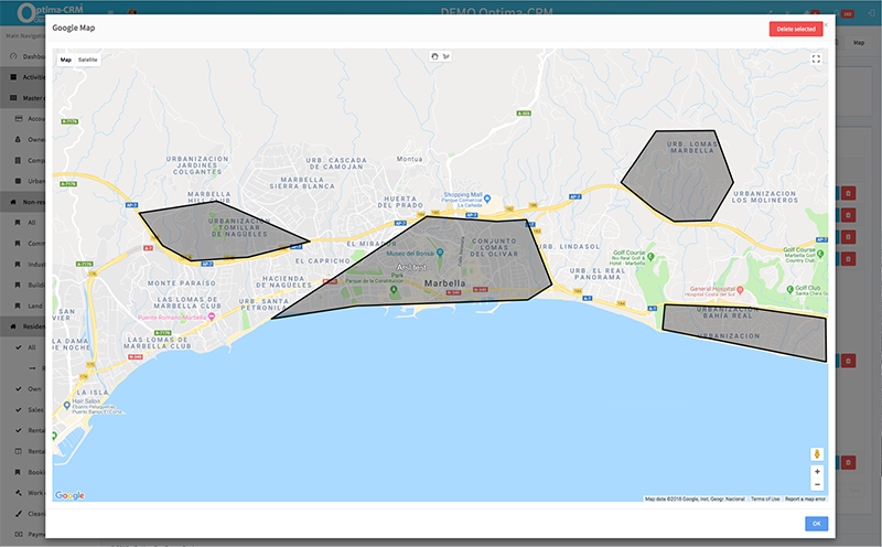 Google Maps: integración interactiva. Dibujar en mapas para definir áreas de interés y buscar propiedades.