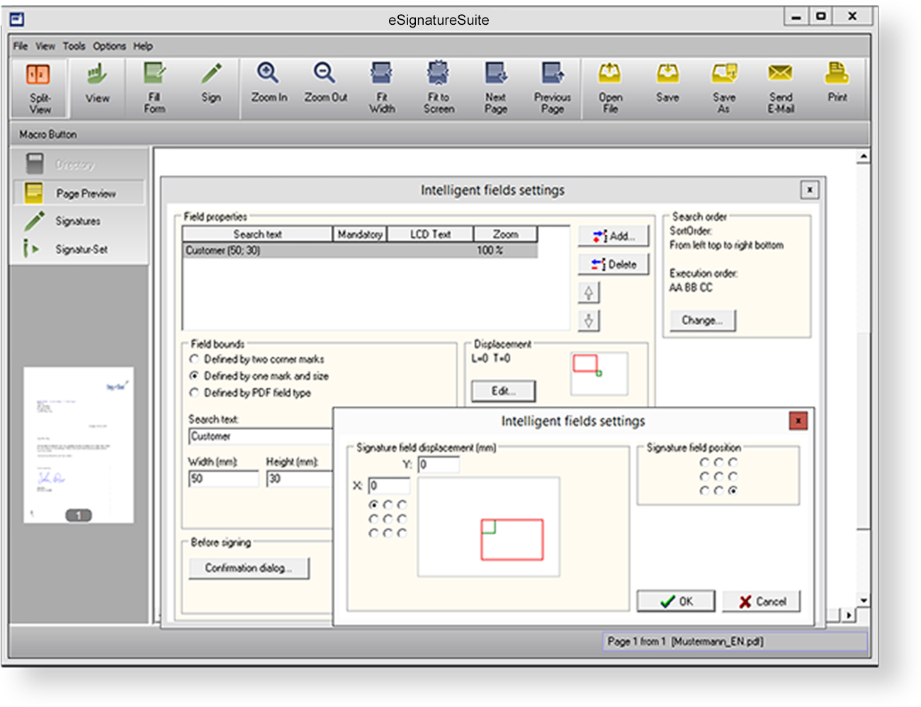Automation through intelligent signature templates  Intelligent signature templates assist you with the automatic capture of signatures and their proper positioning in your electronic document.