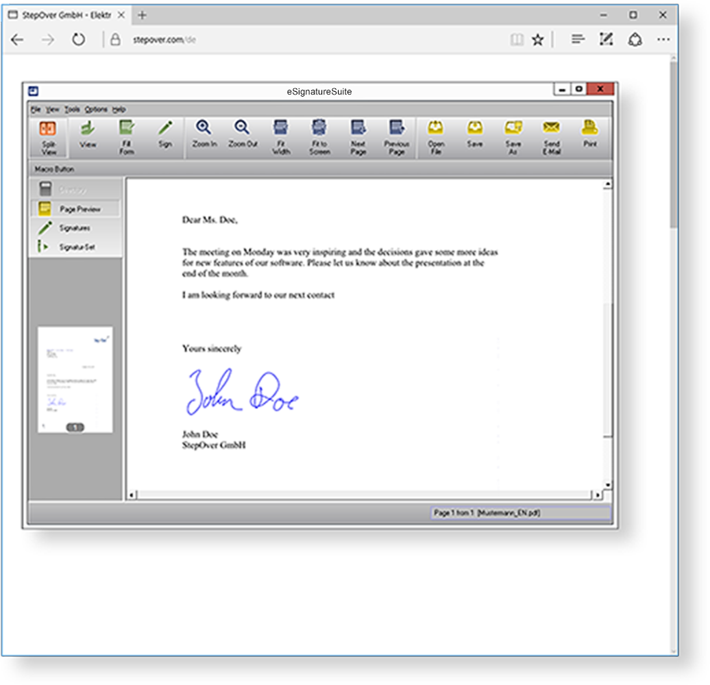 The signing solution for PDF/A Documents  eSignatureSuite makes it possible to display and sign PDF/A documents. Form fields can also be filled out and saved in eSignatureSuite.