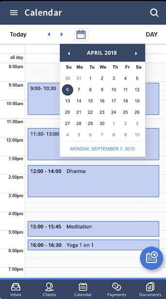 Calendar view - Mobile