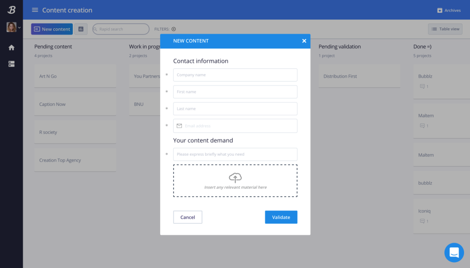 The process is composed of a customizable form in order to enter data and automate actions