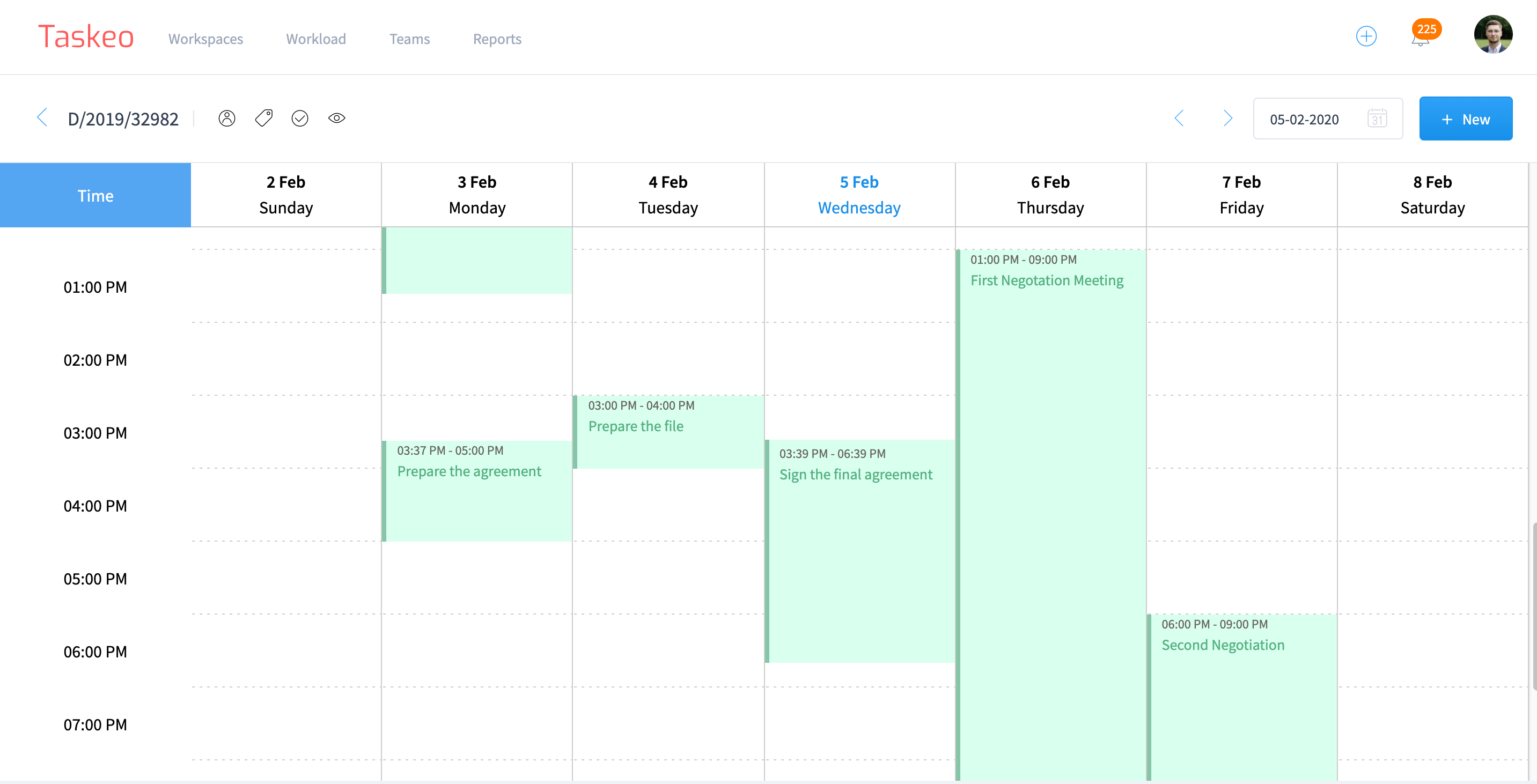 Calendar View in Taskeo helps you visualize your workload on a timeline