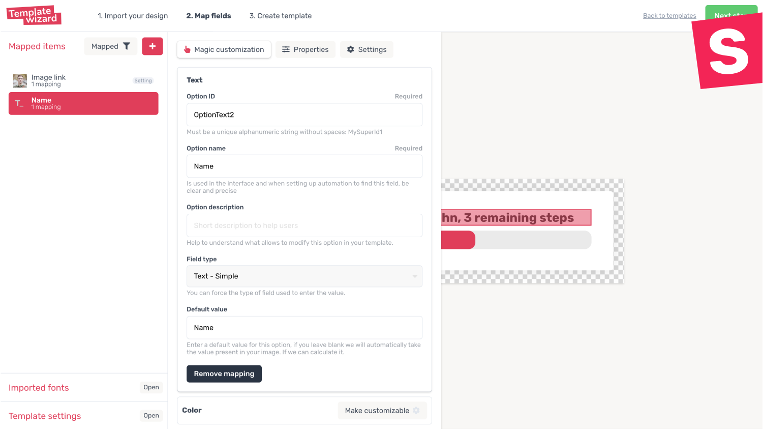 Create template and precisely point out the items to be personalized
