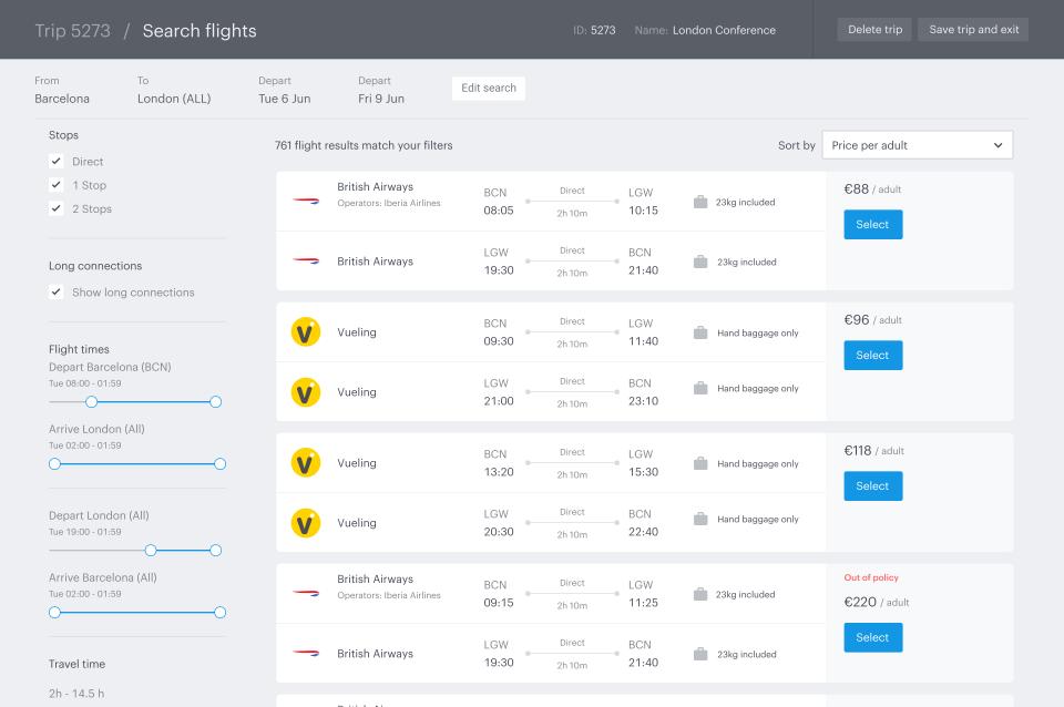 TravelPerk Flight Search