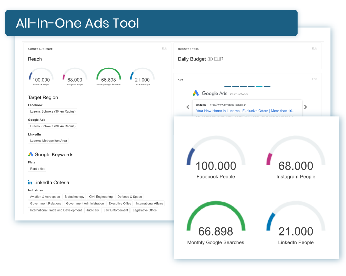 Create & manage ads in one place