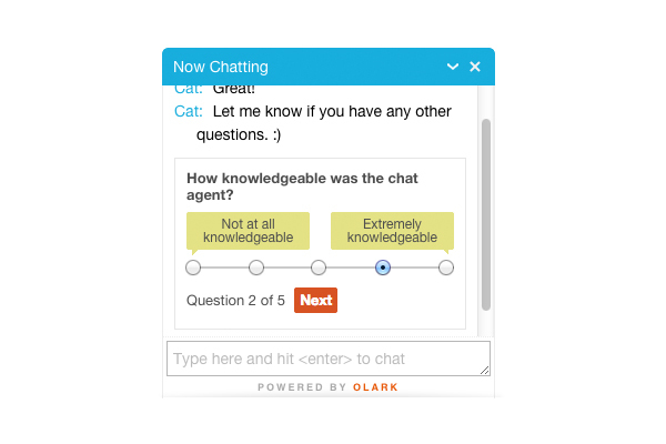 Olark: support (phone, email, ticket), Live Chat, Help Desk
