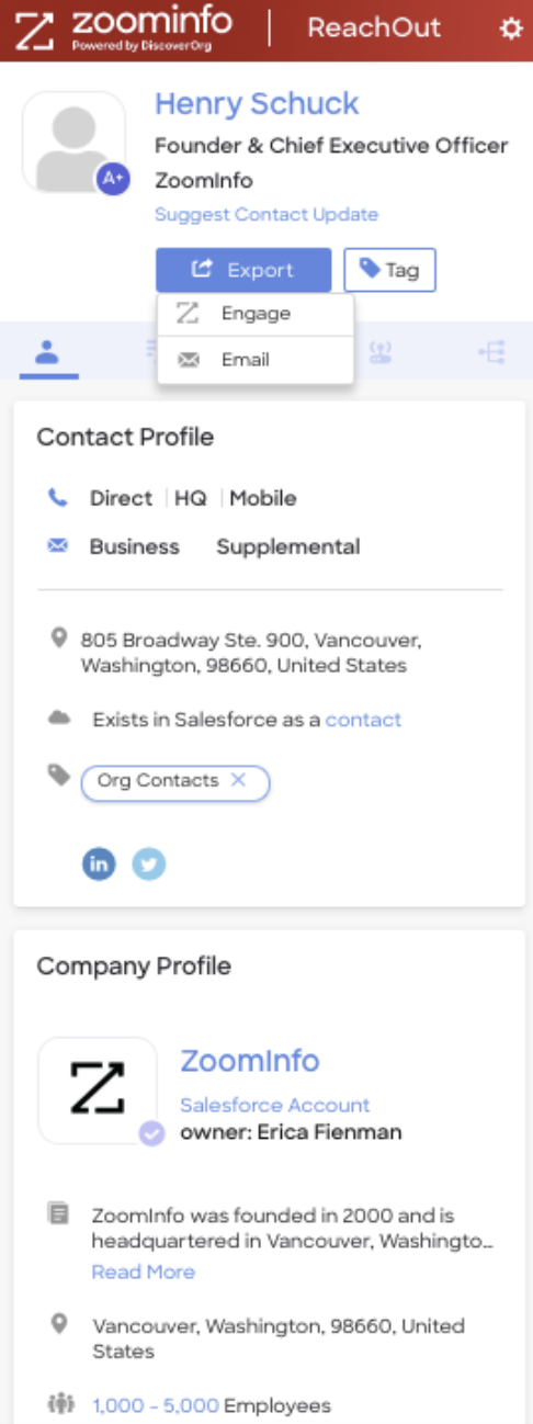 ZoomInfo's Chrome Extension, ReachOut enables you the access contact & company information on any site, including corporate websites, LinkedIn and your CRM.