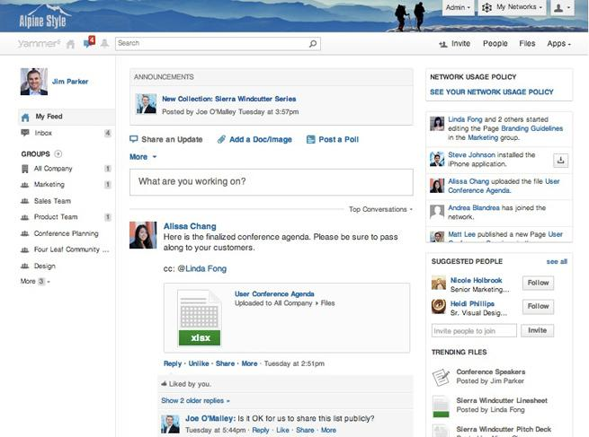 Yammer: Publication and sharing content, knowledge base, wiki, Secure Sockets Layer (SSL)