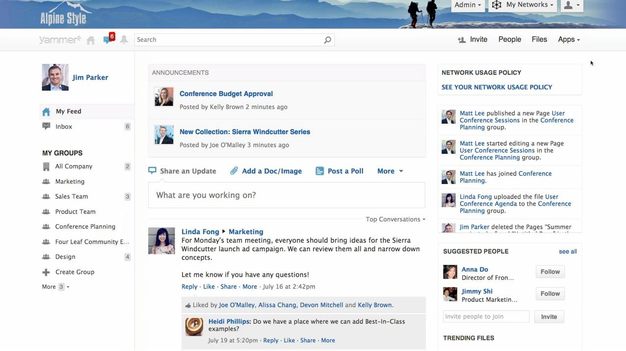 Yammer: Basic knowledge wiki, News Feed, Secure Sockets Layer (SSL)
