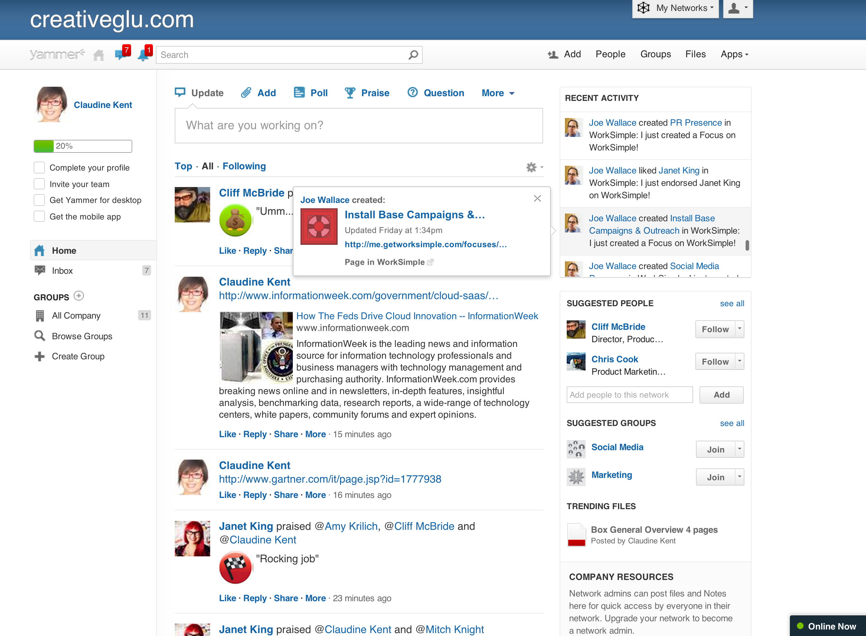 Yammer: News Feed, Intranet & Community Task Manager