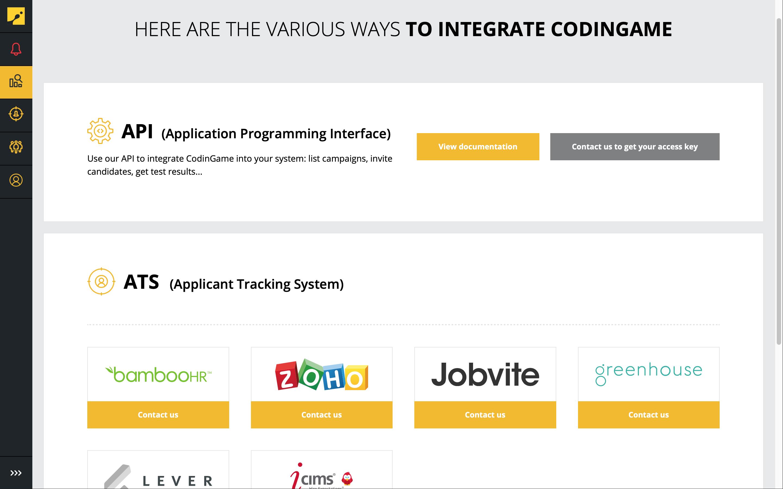 CodinGame Assessment-integration