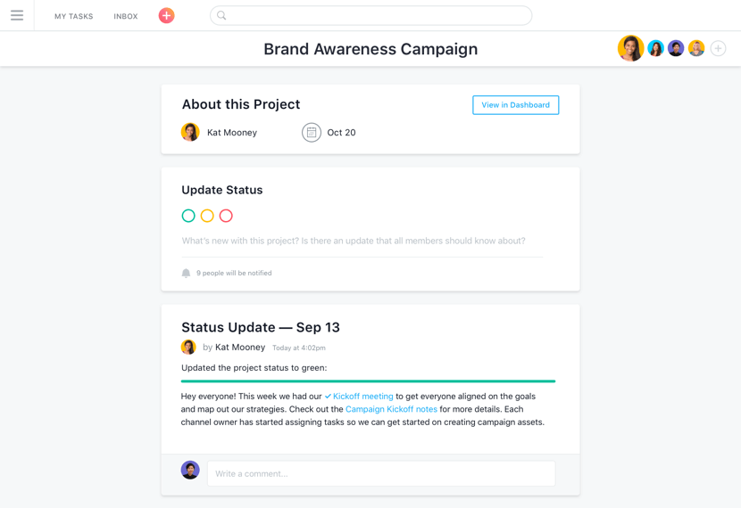 Asana status updates and reporting