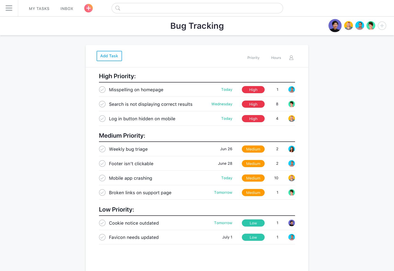 Asana bug tracking