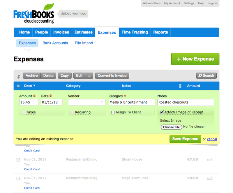 Freshbooks: Invoices