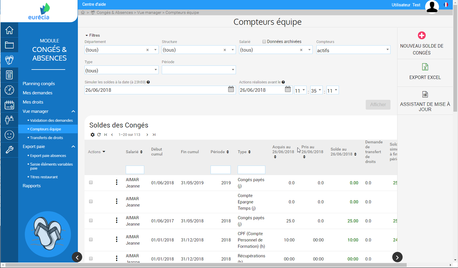 Module Holidays & Absences: View Manager