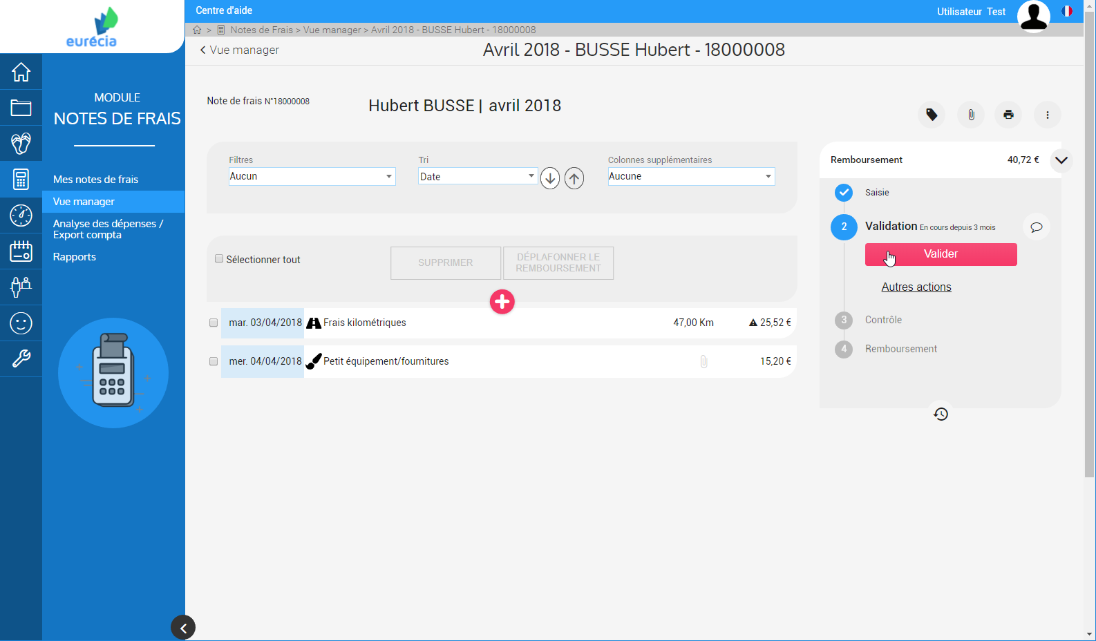 Module costs Notes: Validation refunds in one click