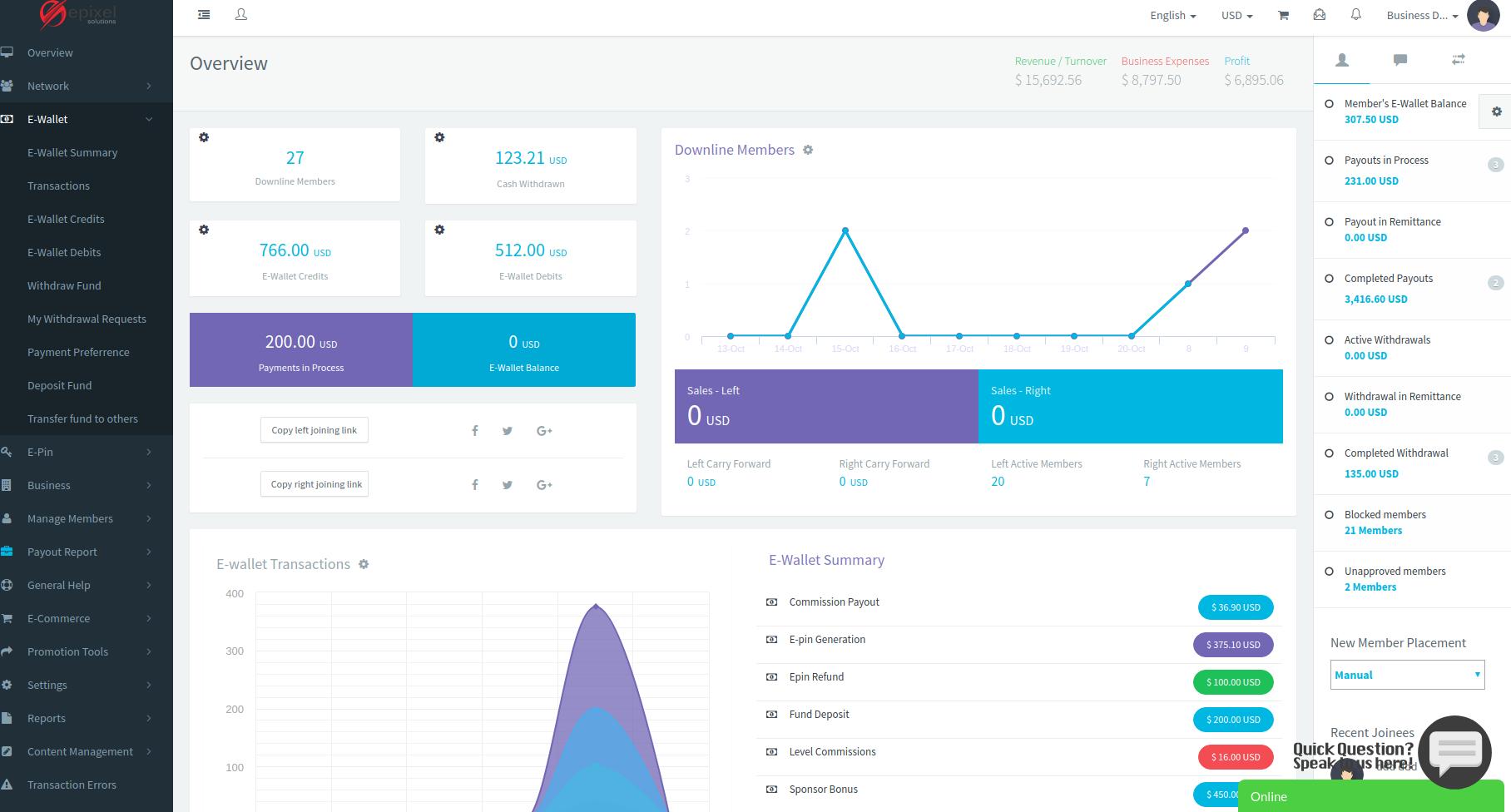 Epixel MLM Software Dashboard